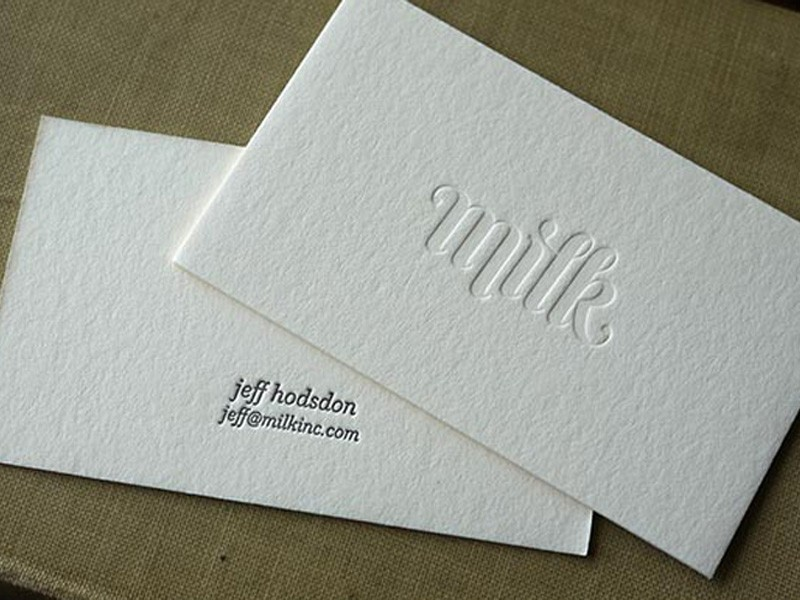 debossed business card